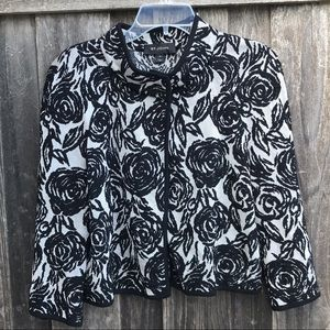 ST. JOHN Floral Knit Cape Jacket Black 10